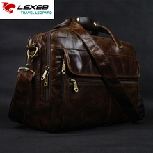 LEXEB Brand Men's Bag Leather Black Briefcase Business Handbags For 15.6 Laptop High Quality Shoulder Bags With Handle