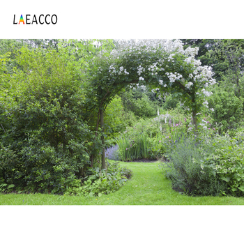 Laeacco Green Spring Grass Flower Arch Door Wreath Garden Park Natural Scenic Photo Background Photography Backdrop Photo Studio professional 10x20ft hand painted column arch scenic muslin photo backdrop background customized service size photos