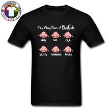 The Many Faces Of Blobfish Cute Fish Black T Shirt 100% Cotton Crewneck Mens T-shirts Cartoon Printed T-Shirt Wholesale Custom