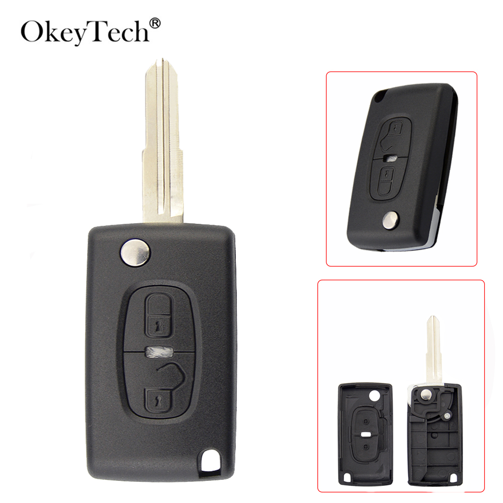 OkeyTech For <font><b>Peugeot</b></font> <font><b>4008</b></font> 2 Buttons Flip Folding Remote Control <font><b>Key</b></font> Shell Replacement Cover Case Uncut Blank Blade Accessories image