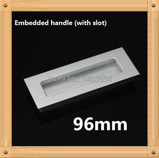 Hole Pitch 96mm Aluminum alloy hidden handle Kitchen Furniture handle drawer handle