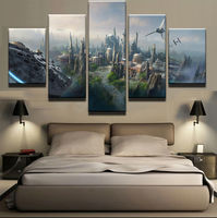 Large Framed Modern Indoor Star Wars City Falcon Tie Fighter Print Canvas Decoration 5 Pieces