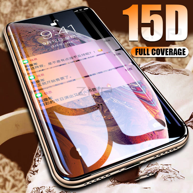 ZNP 15D Curved Edge Screen Protector Tempered Glass For IPhone 7 8 6 6s Plus Protective Glass On The For IPhone X XS Max XR Film