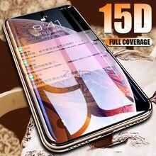 Znp película de vidro temperado borda curvada 15d, para iphone 7 8 6 6s plus, vidro protetor filme para iphone x xs max xr