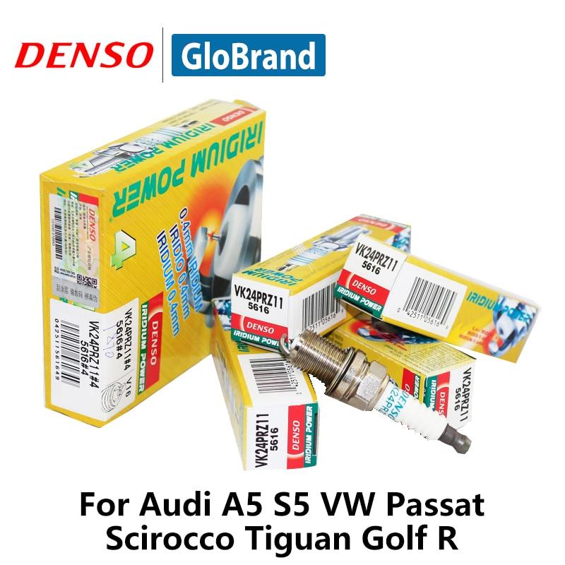 4pieces/set DENSO Car Spark Plug For Audi A5 Q5 Q3 S5 VW Passat Scirocco Tiguan Golf R VK24PR-Z11 Iridium Platinum golf 3 td 2011