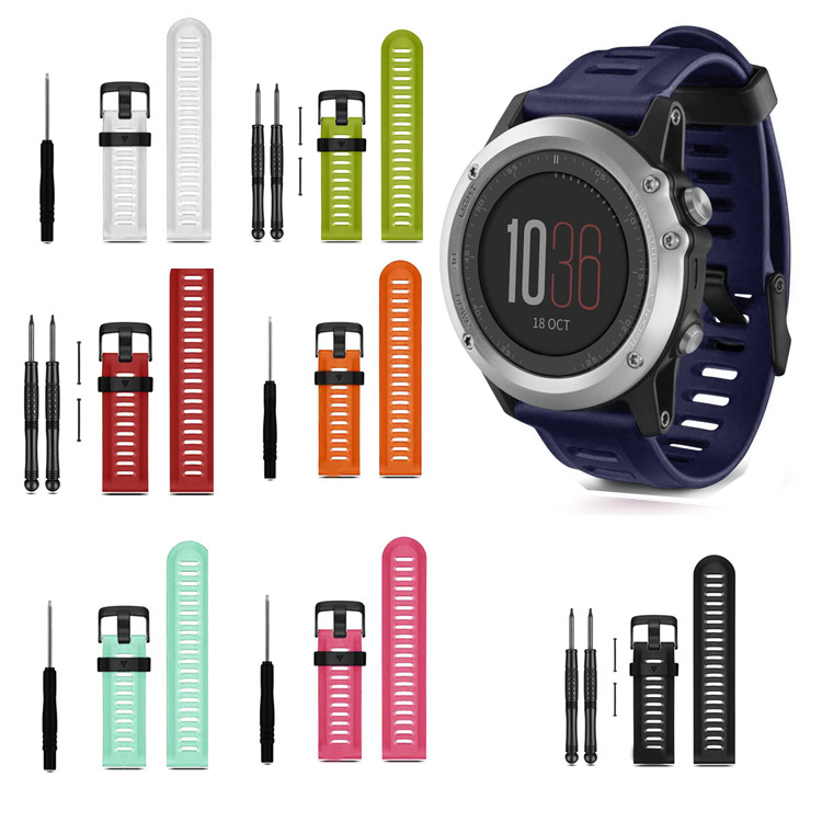Hot Sale Rubber Silicone Watch Strap Band Soft Silicone Strap Replacement Watch Band With Tools For Garmin Fenix 3 wholesale multi color silicone band for garmin fenix 5x 3 3hr strap 26mm width outdoor sport soft silicone watchband for garmin 26mm band
