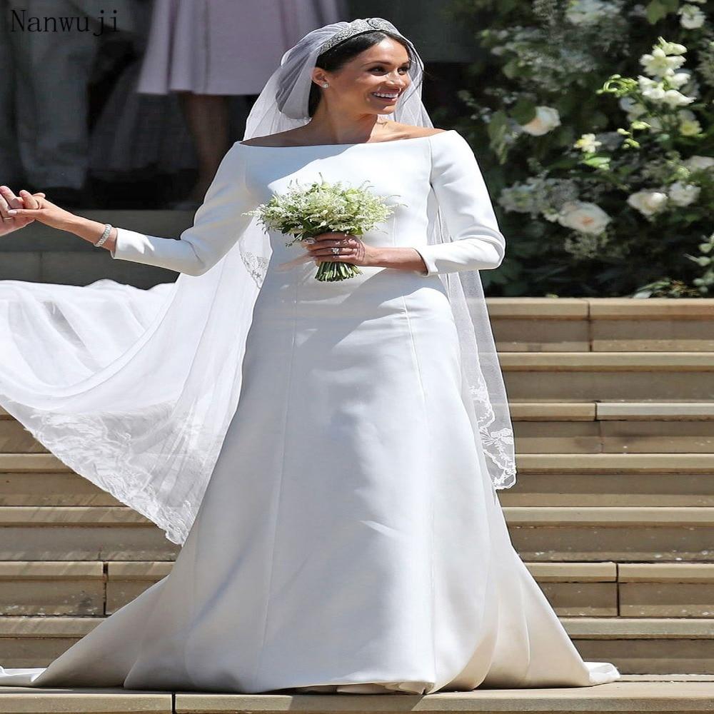 Us 1690 2017 New Boat Neck Wedding Dress Meghan Markle Wedding Dress Long Sleeve Vestidos De Novia Robe De Mariage In Wedding Dresses From Weddings