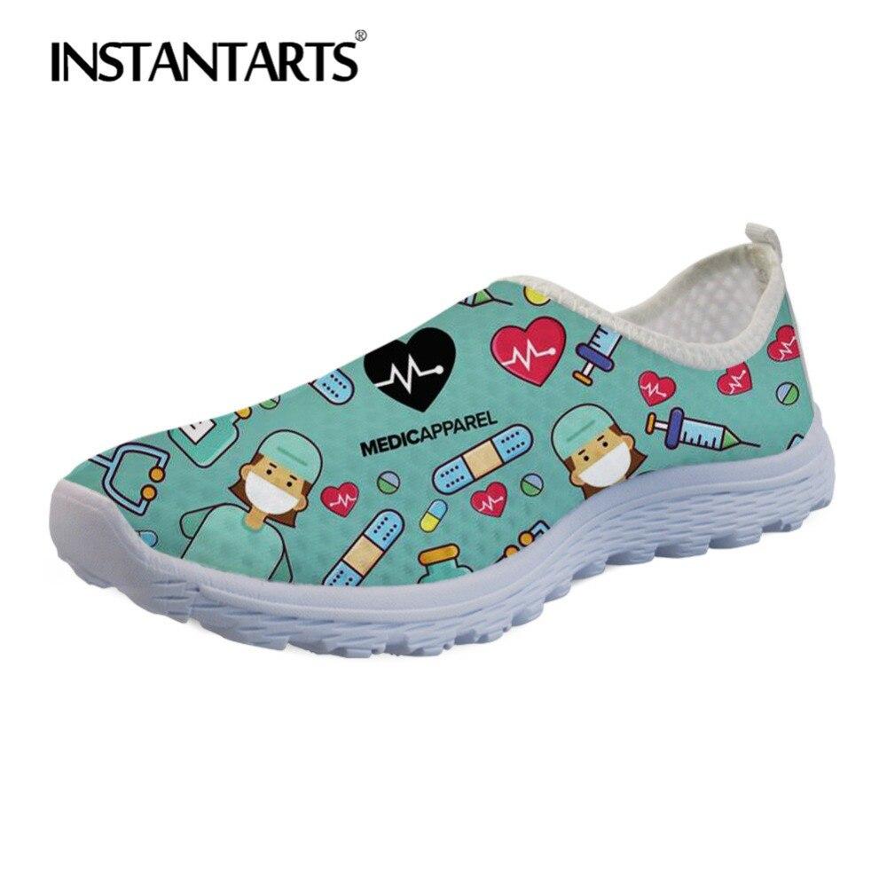 Instantarts dos desenhos animados enfermeira médica sapatos planos casuais das mulheres malha sapatos de pouco peso feminino deslizamento em tênis sapatos de praia menina