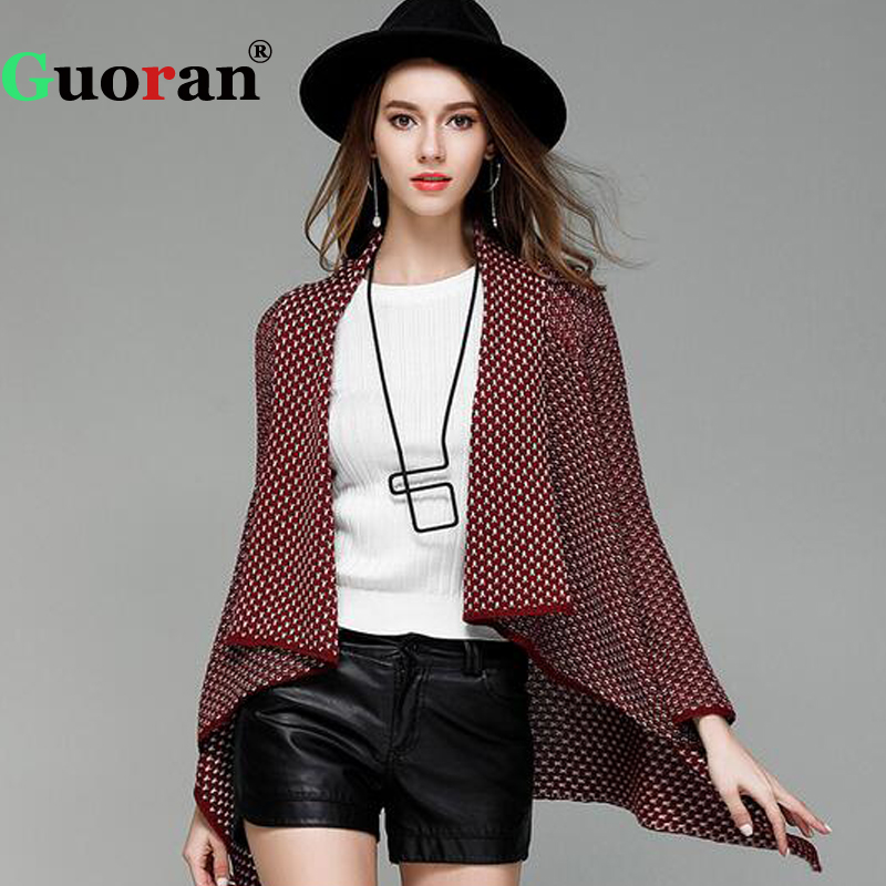 {Guoran} Knitted Women Cardigans 2018 Autumn New Plaid Loose Batwing Sleeve Female Sweaters Ladies Overcoat Knitting Outwear