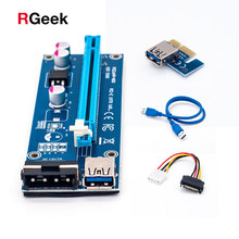 Wholesale USB 3.0 PCI-E Riser Express 1X 4x 8x 16x Extender Riser Adapter Card SATA 15pin Male to 6pin Power Cable(China)