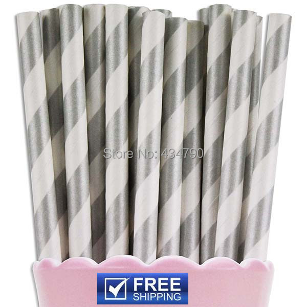 200pcs wedding christmas silver striped paper strawsmetallic silver also fun to use as cake pop sticks and lollipop sticks pair with our other party supplies for a coordinated look junglespirit Images