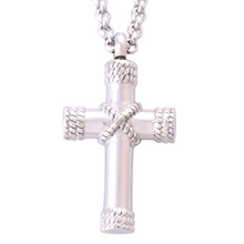 Platinum Plated Cross Urns Necklace