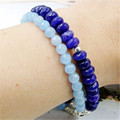 Laboratory-created Natural Stone Vintage Classic Two Layers Aquamarines and Sapphires  Beads  Bracelet for Women