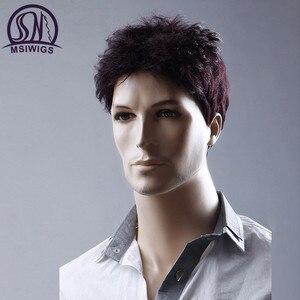 Image 5 - MSIWIGS 6 סנטימטרים קצר ישר פאות גברים יין אדום פאה טבעי גברים פאה שיער סינטטי סיבי חום עמיד