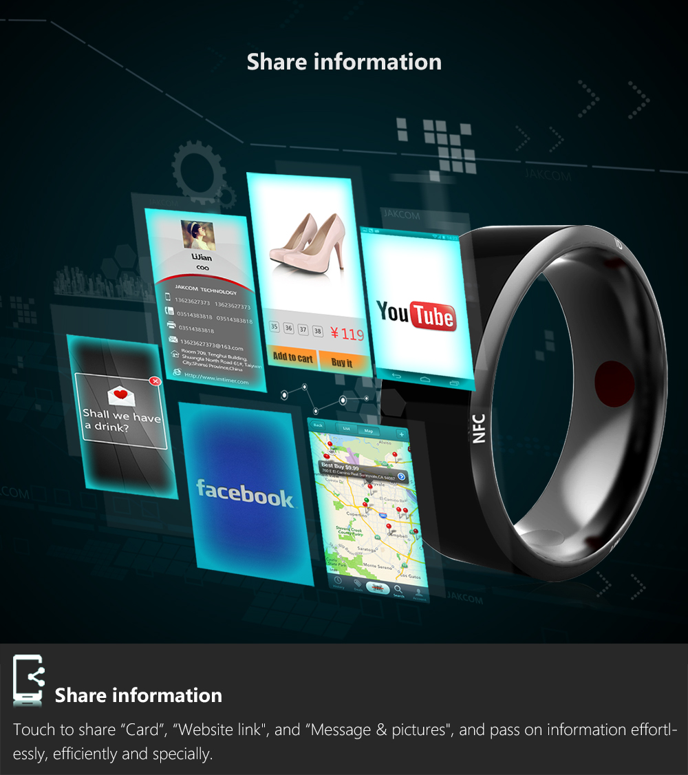 Jakcom Smart Ring R3 Hot Sale In Smart Gadgets Accessories New Technology for Android Windows NFC Mobile Phone mens jewellry 14