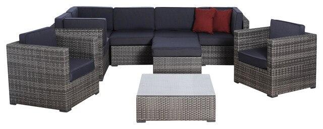 2017 New Design 9 Piece Grey Wicker Outdoor Furniture Seating Sofa Set