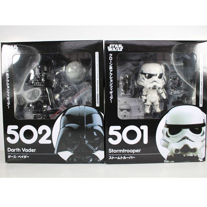 Cute Nendoroid Star Wars The Force Awakens Stormtrooper #501 Darth Vader #502 PVC Figure Collectible Model Toy 4 10cm KT1853 10cm nendoroid star wars toy the force awakens stormtrooper darth vader 501 502 pvc action figure star wars figure toys