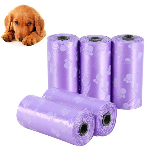 5 Roll Colorful Dog Waste Poop Bags Dog Bag Cat Waste Pick Up Clean Car Travel Cleaning Bags Dog Poop Bag Car Cleaning Products