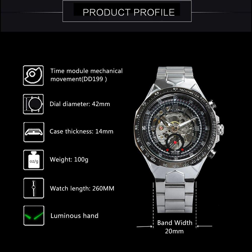 WINNER Vintage Fashion Men Mechanical Watches Metal Strap Top Brand Luxury Best Selling Vintage Retro Design Wristwatches +BOX 22