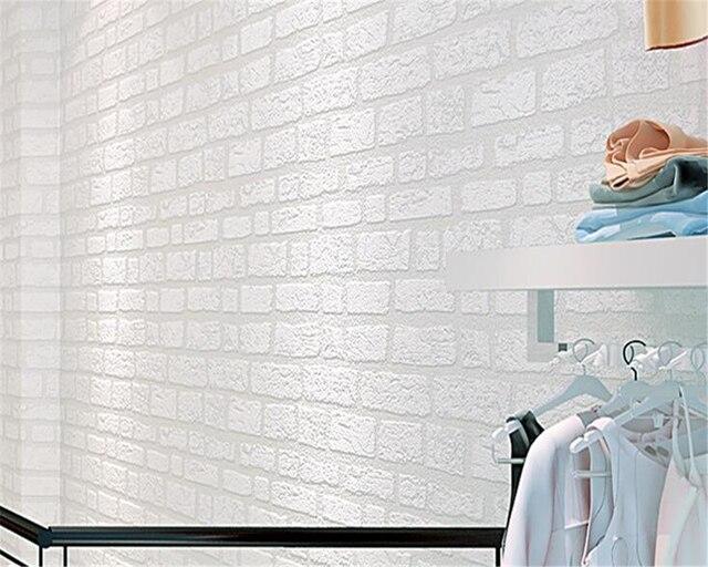 Beibehang White Brick Wallpaper Simple Living Room TV Sofa Background  Clothing Store Mediterranean Bedroom 3d Wallpaper
