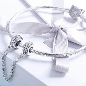 Image 5 - 100% Серебряный браслет с инкрустацией, безопасная цепочка с прозрачными фианитами, подвески для браслета, DIY ювелирные изделия SCC812