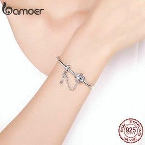 Image 5 - Bamoer Echt 925 Sterling Zilveren Liefde Sleutel Hart Vorm Armbanden Armbanden Voor Vrouwen Paars Zirkoon Valentine Gift Sieraden SCB820