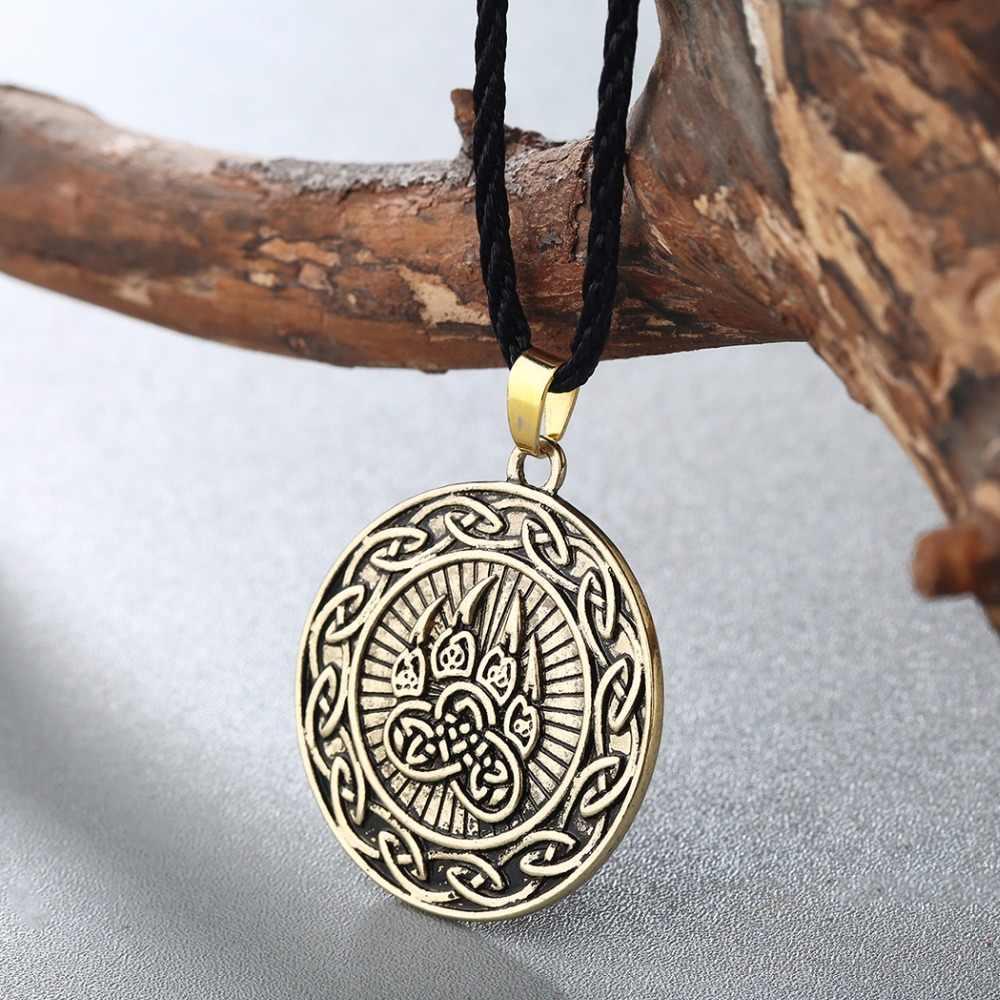 CHENGXUN Viking Kot Celtic nieskończoność niedźwiedź wisiorek mężczyźni naszyjnik niedźwiedź pazur/łapa Amulet ochrony wisiorek – biżuteria talizman