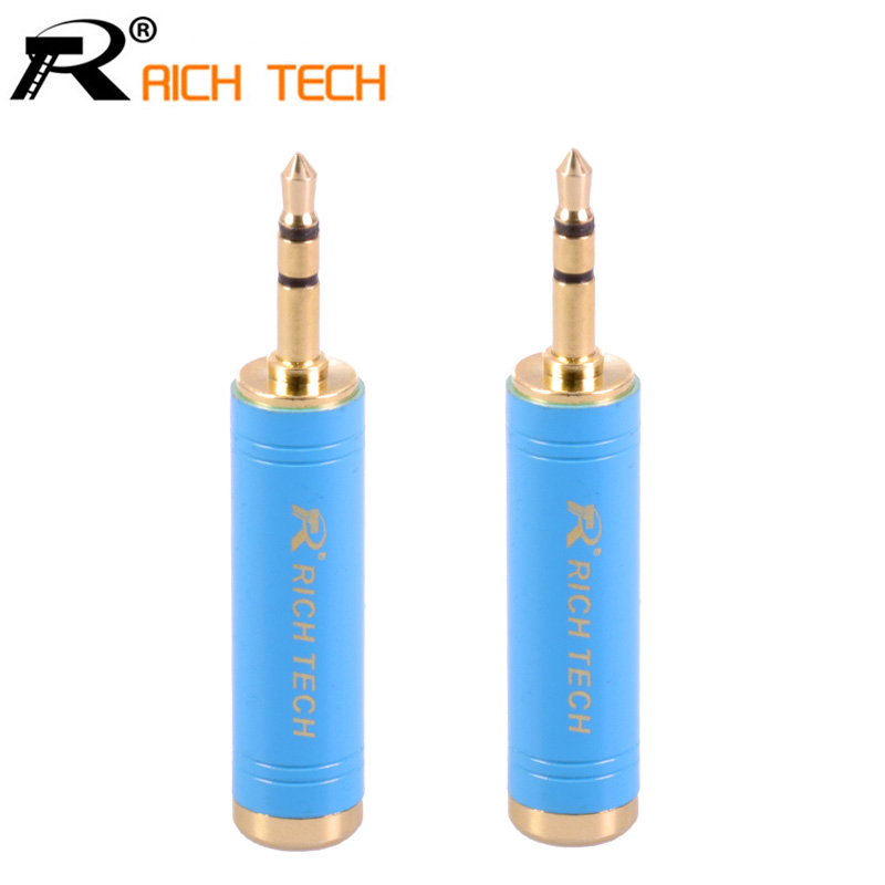 3pcs Microphone Audio Jack 6.35mm female to Plug 3.5mm 3 pole Earphone Adapter Gold-plated Copper Connector RICH TECH Packing areyourshop sale 2pcs gold plated stereo 3 5mm 3 pole repair headphone jack plug cable audio adapter