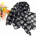 Fashion Black White skull Ladies Long Chiffon Scarf Spring Summer Winter Women Girls Printing Scarves Shawls Bufanda