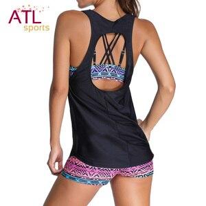 Image 3 - 2021 Tankini costume da bagno due pezzi bikini femminili con gilet costumi da bagno donna Plus Size costume da bagno Push Up Maio Beach Mayo bagnanti