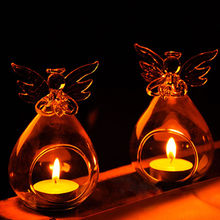 Fashion Creative Angel Glass Crystal Hanging Tea Light Candle Holder Home Room Party Decor Candlestick Storage Holders