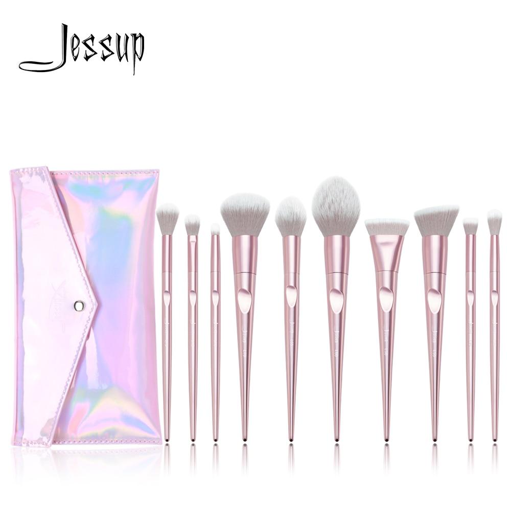 Neue Ankunft Jessup pinsel 10 stücke Rosa Make-Up pinsel set beauty Make up pinsel & 1 stück Kosmetik tasche frauen blush Powder Foundation
