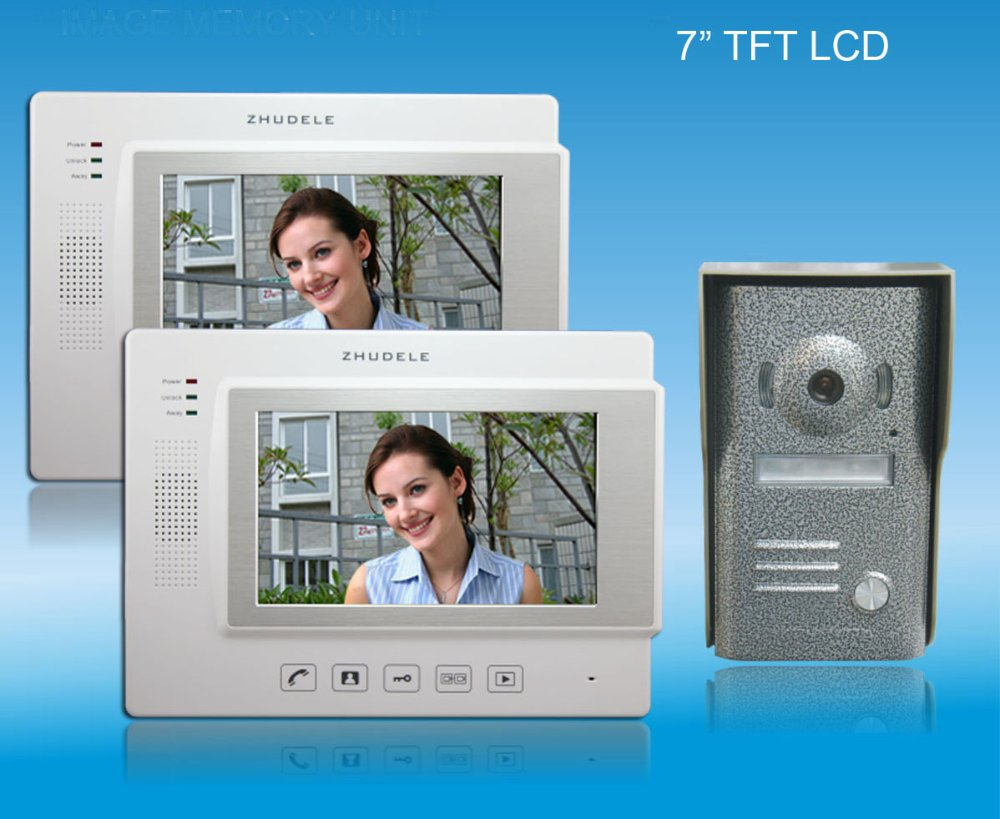 ZHUDELE Home security intercom 7 luxury color video door phone,CCD camera ,touch screen with SD CARD, unlocked phone (1 to 2)