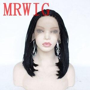 Peluca con trenzas en la parte media de MRWIG, peluca con trenzas 12-16in 250% densidad, peluca frontal de encaje sintético