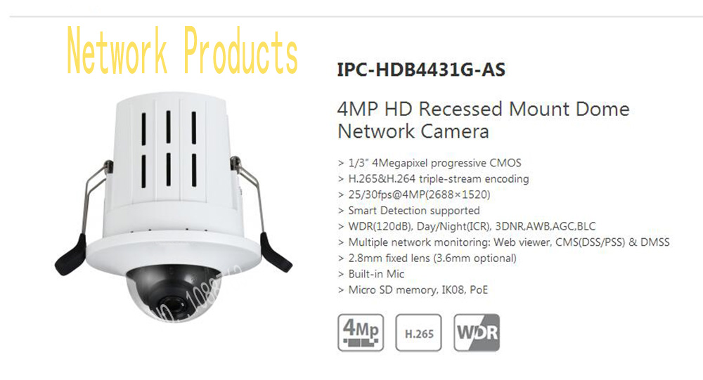 Free Shipping DAHUA Security IP Camera 4MP HD Recessed Mount Dome Network Camera With POE Without Logo IPC-HDB4431G-AS free shipping dahua cctv camera 4k 8mp wdr ir mini bullet network camera ip67 with poe without logo ipc hfw4831e se