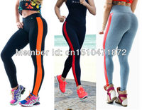 2014 New Side Patchwork Stripe Yoga Faux Leather PU Color Leggings Sports High Waist Disco Pants