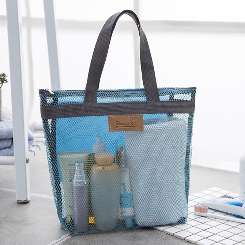 Swimming Beach Bags for Shoes Storage Floral Mesh Tote Handbags Women Outdoor Swimsuit Collect Package Bath Toiletry Bag