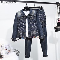 Embroidery Beaded Sequined Tassel Women Denim Two Piece Sets Long Sleeve Short Jackets Coats + Slim Pencil Jeans Female Suits