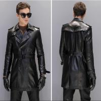 M 5xl Men Leather Jackets And Coats Faux Leather Men's Long Section Slim Sheep Skin Windbreaker Casual Large Size Men's Clothing