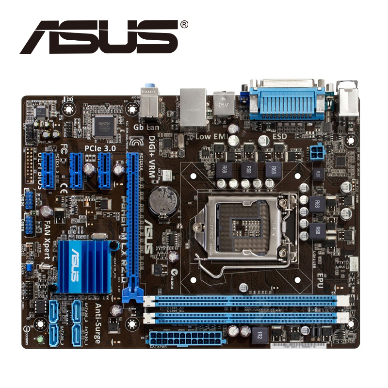 Asus P8H61-M LX R2.0 Desktop Motherboard H61 Socket LGA 1155 i3 i5 i7 DDR3 16G uATX UEFI BIOS Original Used Mainboard On Sale asus p5ql cm desktop motherboard g43 socket lga 775 q8200 q8300 ddr2 8g u atx uefi bios original used mainboard on sale