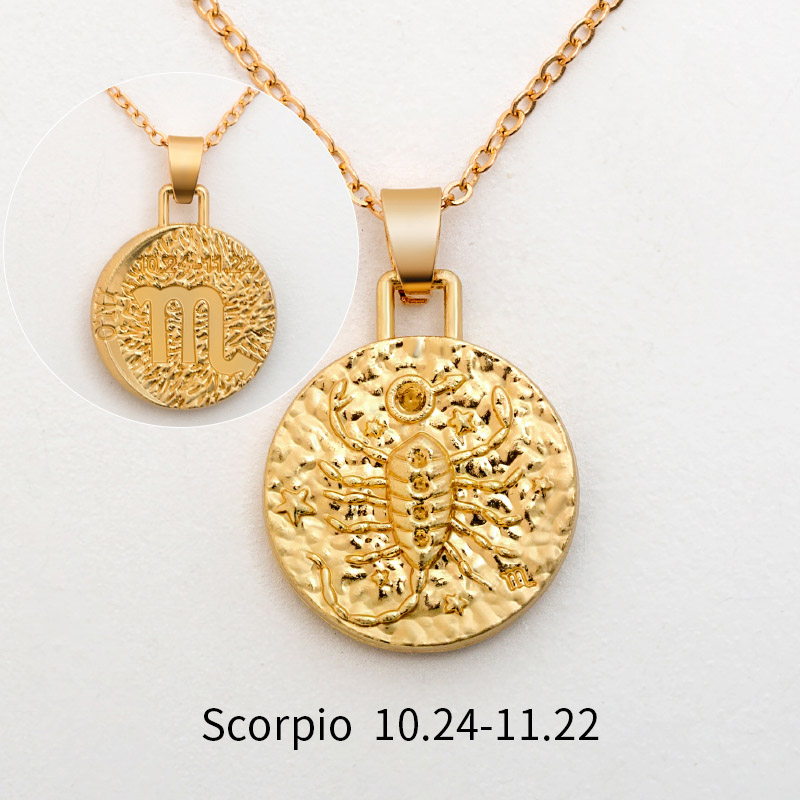 12 Constellation Jewelry Necklace Gold Virgo Libra Scorpio Sagittarius Capricorn Aquarius Zodiac Necklace Circle Pendant bijoux 28