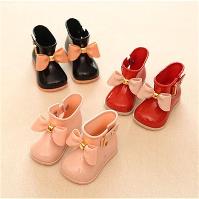 Mini SED Shoes 2016 Cute Baby Jelly shoes For Girl Shoes Children Bow Rain Boot Girls Sandal Cute Girls Shoes Kids Rainboots