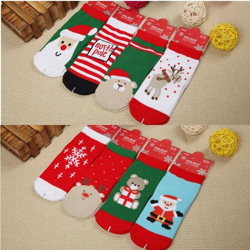 1Pair cotton Christmas children's socks Christmas baby socks Christmas socks autumn & winter explosions Student socks 6