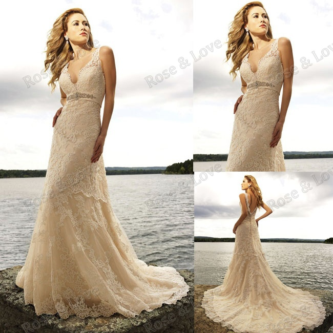 Buy cap sleeve v neck bodice lace beaded for Vintage beaded lace wedding dress