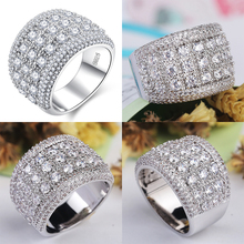Luxury Big silver Rings with CZ Zircon Stone for Women Fashion Wedding Engagement D30