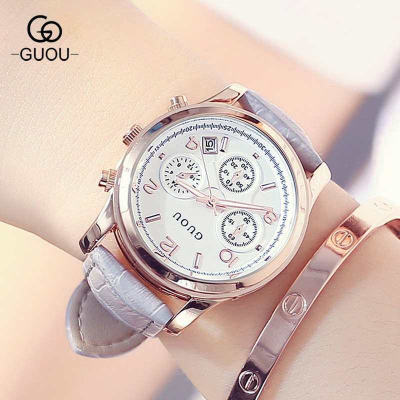 GUOU Fashion Women Dress Quartz-Watch Casual Wristwatch Women Relogio Leather 3 Eyes Calendar Watch Clock For Ladies Female kimio new fashion leather strap women quartz casual bracelet watch clock female ladies girl dress wristwatch relogio and box