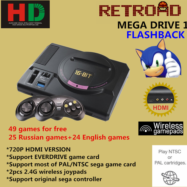 Hot Hdmi Video Game Console Sega Megadrive I Genesis 50in1 Free Games High Definition Hdmi Tv