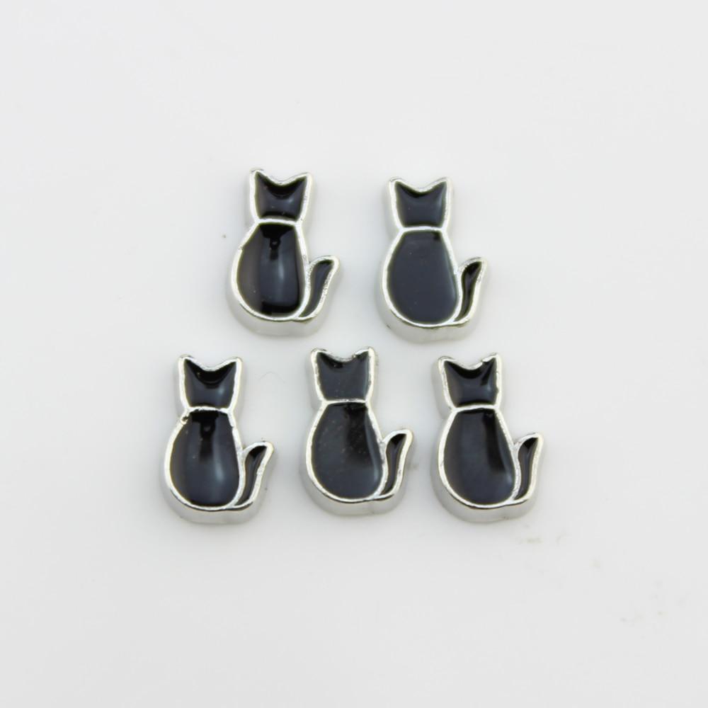 charm for living glass floating locket black kitty cat