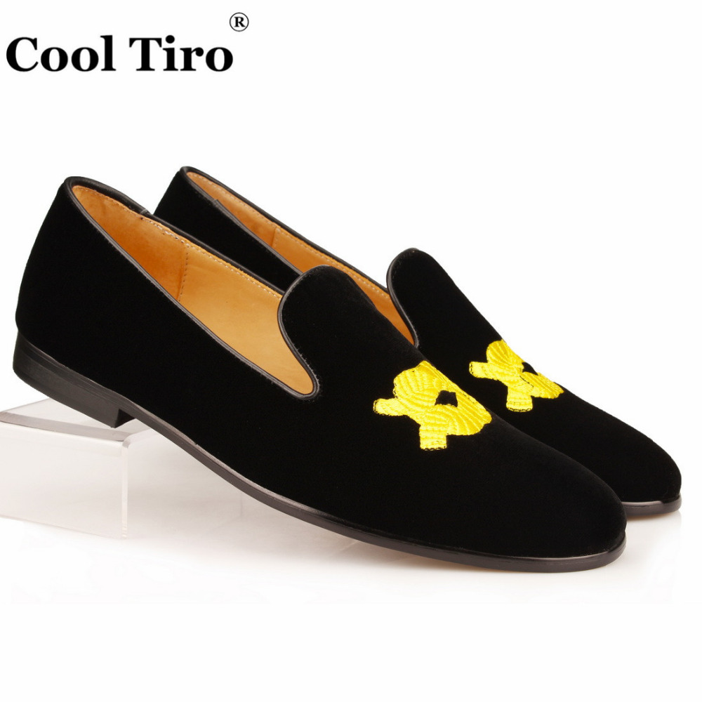 Cool Tiro Men Slippers Golden Knot Embroidered Loafers black Velvet  Moccasins Men s Dress Formal Shoes Casual Flats Leather b23df4e6cca5