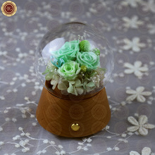 WR Green Eternal Rose Flower Mother Day Gift Beautiful Desktop Decoration Music Box Bluetooth Support Wedding Ornament 17*12cm